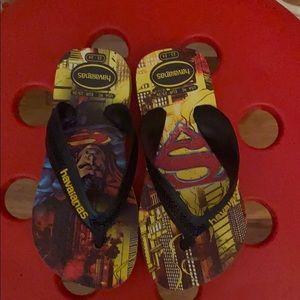Kids Size 6 EU 24 Boys Childs White Superman DC Hero Summer Sandals Shoes